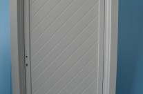 Door with diagonal pattern