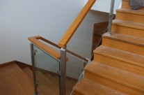 Railing stainless steel / glass / wood