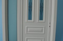 Door with crafted glass