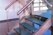 Railing with glass staircase and protection